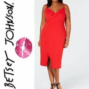 NWT BETSY JOHNSON Red Midi Womans dress size 22 W